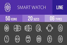 50 Smart Watch Line Inverted Icons