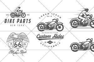Vintage biker logos (Set #1)