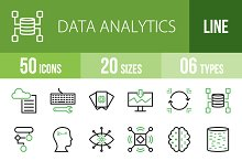 50 Data Analytics Green&Black Icons
