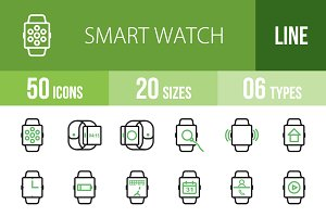 50 Smart Watch Green & Black Icons