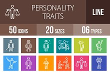 50 Personality Line Multicolor Icons