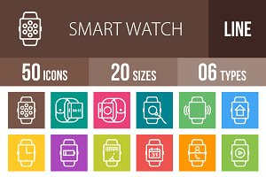 50 Smart Watch Line Multicolor Icons