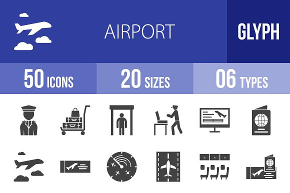 50 Airport Glyph Icons