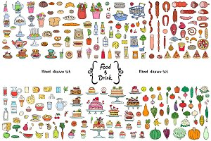 Vector set with food, drink doodles