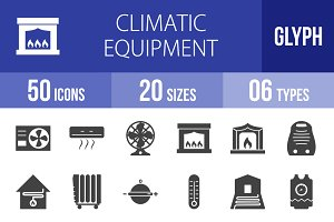 50 Climatic Equipment Glyph Icons