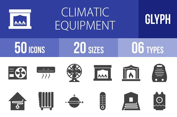 50 Climatic Glyph Icons