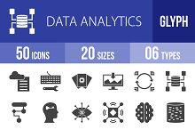 50 Data Analytics Glyph Icons