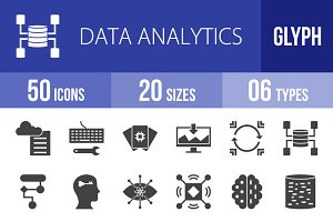 50 Data Analytics Glyph Icons