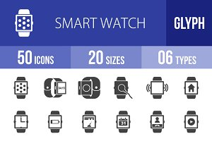 50 Smart Watch Glyph Icons