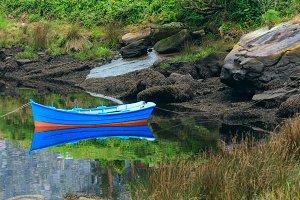 Boat nier summer lakeside.