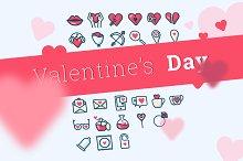 Valentine's Day icons (26 + 26)