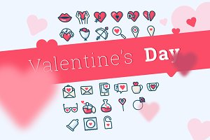Valentine's Day icons (26 + 26)