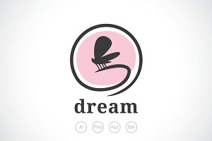 Butterfly Flying Dream Logo Template