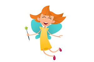 Fun cute fairy girl with wings and a magic wand