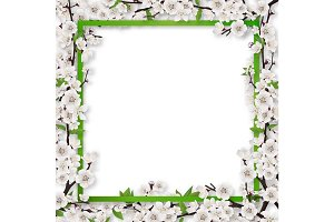 frame overgrown blossom tree branches