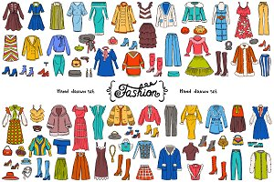 Vector set with fashion doodles