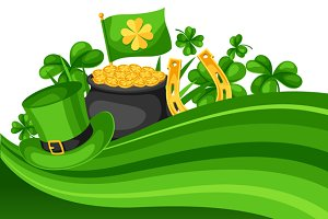 Saint Patricks Day card. Flag, pot of gold coins, shamrocks, green hat and horseshoe