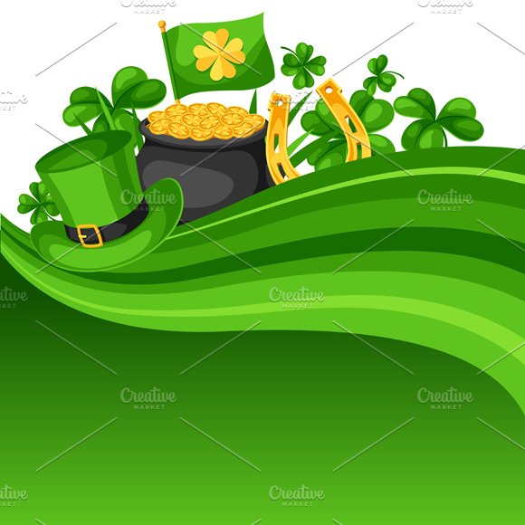 Saint Patricks Day Card Flag Pot Of Gold Coins Shamrocks Green Hat And Horseshoe