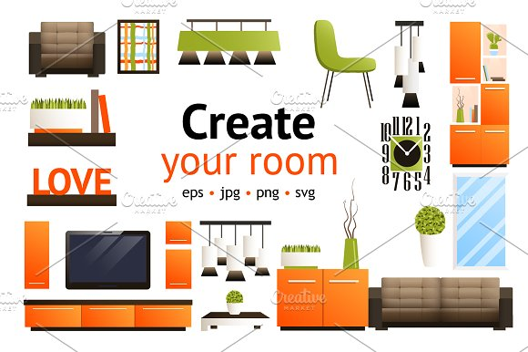 Create your room set graphics creative market for Customize your room