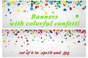 Banners set with colorful confetti
