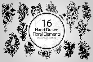 16 Hand Drawn Floral Elements
