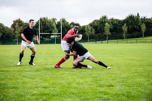 Rugby players playing a match