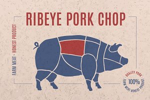 Label for pork steak meat cut