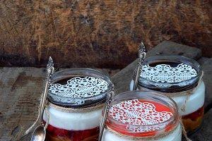 Cheesecake dessert in jar