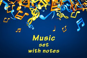 Music set with colorful notes