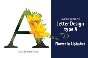 Letter A vector with flower.