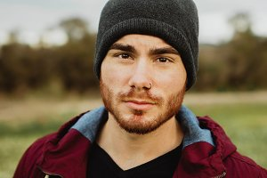 Attractive guy with wool hat