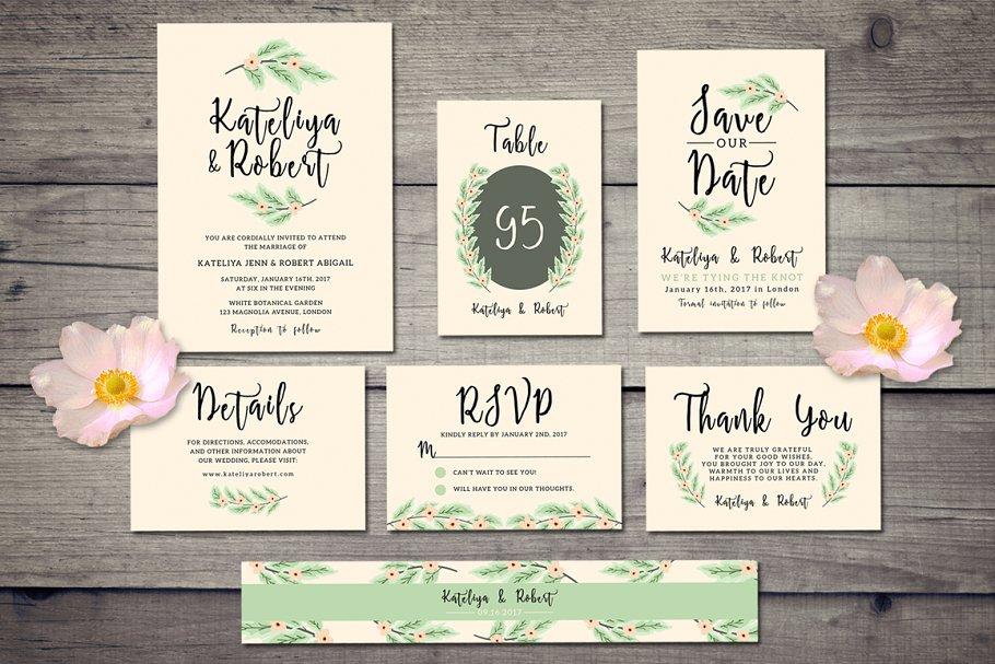 Nature Wedding Invitation Suite Templates Creative Market