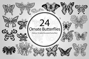 24 Ornate Butterflies (Vector)