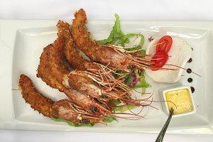 Big crispy prawns