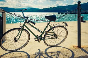 Vintage bicycle near the sea.
