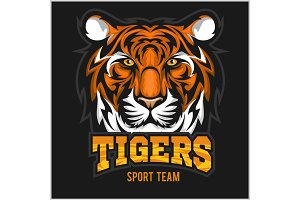 vector tiger face sport emblem