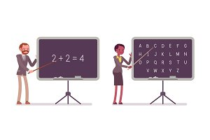 Teachers are teaching maths and alphabet on the blackboard