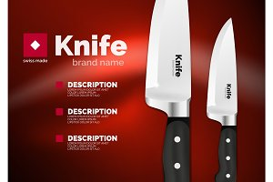 Vector Swiss made knife ad template