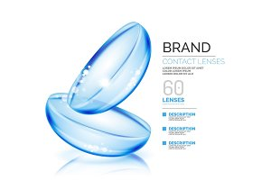 Vector eye contacts lenses ad template