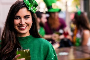 Portrait of woman celebrating St Patricks day