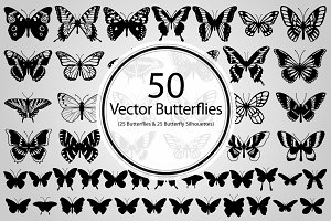 50 Butterflies (Vector)