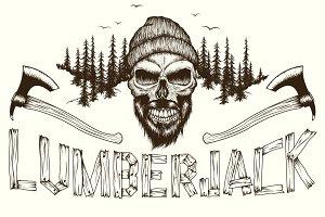 Skull lumberjack dotwork