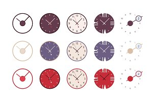 Set of modern wall clocks