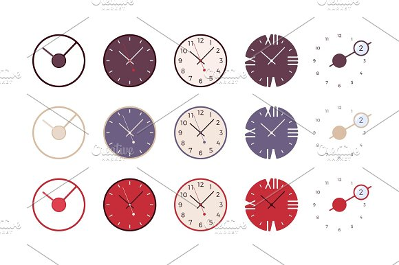 Set Of Modern Wall Clocks