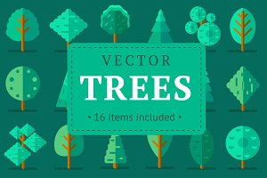 Green flat vector trees set