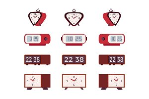 Set of retro alarm clocks