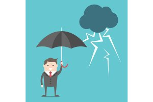 Businessman, umbrella and thunder