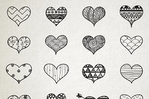 Hand Skeched Hearts Set