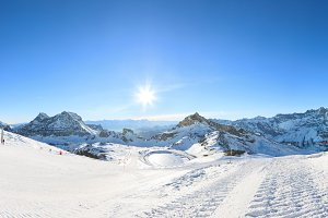 Winter skiing resort in Alps