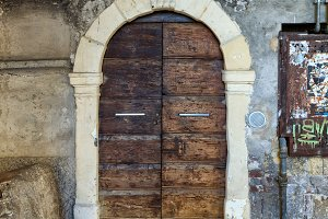 Traditional old european facade with entance door